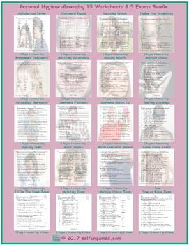 Personal Hygiene-Grooming 20 Worksheet-Exam Bundle