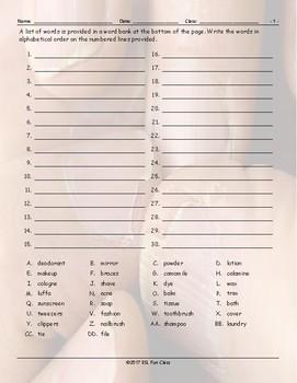 Personal Hygiene-Grooming Alphabetical Order 1 Worksheet