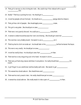 Personal Hygiene-Grooming Fill In The Blanks Exam