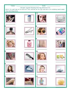 Personal Hygiene-Grooming Matching Worksheet 2