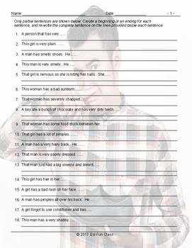 Personal Hygiene-Grooming Sentence Finishers Worksheet