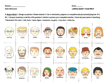 Personal Identification Guess Who Printable
