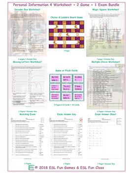Personal Information 4 Worksheet-2 Game-1 Exam Bundle