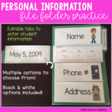 Personal Information/ File Folder / Name Practice