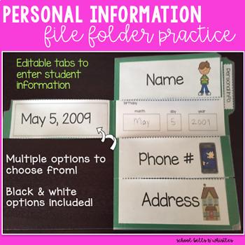 Personal Information/ File Folder / Name Practice