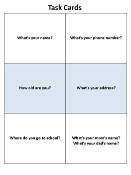 Personal Information Flashcards