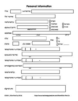 Personal Information Form ESL