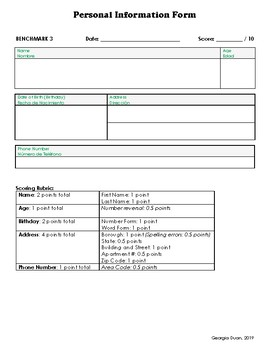 Personal Information Form (English/Spanish)