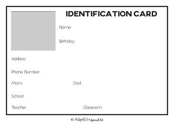Personal Information Identification Cards