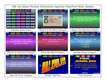 Personal Information Jeopardy PowerPoint Game Slideshow
