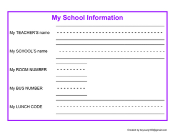 Personal Information - My School Information - Special Education