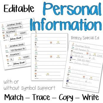 Personal Information Practice Forms for Special Education