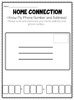 Personal Information Practice Journal for Kindergarten and 1st Grade Week Unit