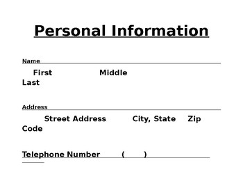 Personal Information Sheet