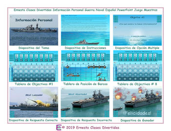 Personal Information Spanish PowerPoint Battleship Game-An Original by Ernesto