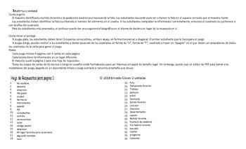 Personal Information Spanish Tic-Tac-Toe or Bingo Game
