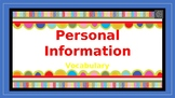 Personal Information Vocabulary