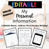 Personal Information Writing Practice EDITABLE