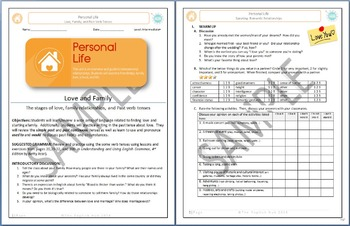 Personal Life (Unit A Packet): Love and Family  (Adult ESL)