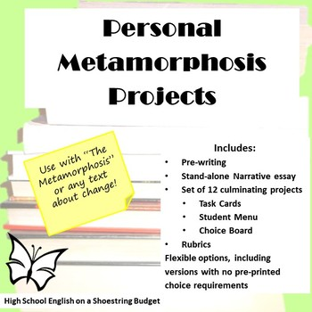 Personal Metamorphosis Task Cards and Narrative Essay (The