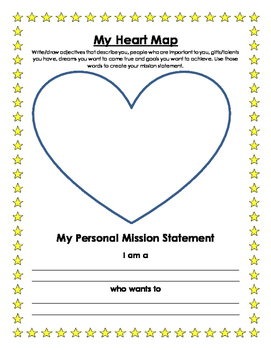 Personal Mission Statement and Heart Map - Leadership Binder