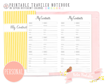 Personal My Contacts List Traveler Notebook Refill