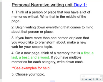 Personal Narrative 5 Day Lesson