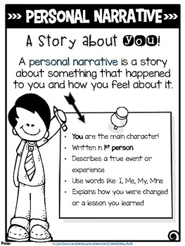 Personal Narrative Anchor Chart Colored and Black and White Version