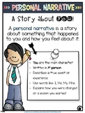 Personal Narrative Anchor Chart Colored and Black and Whit