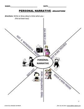 Personal Narrative Brainstorm & Pre-Write