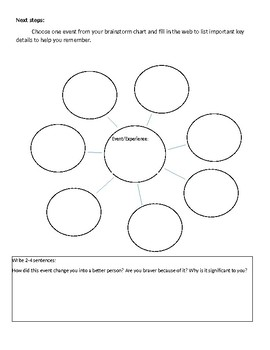Personal Narrative Brainstorming Printables