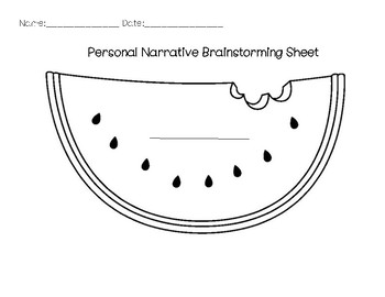 Personal Narrative Brainstorming Sheet/ Organizer