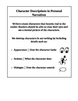 Personal Narrative Character Description