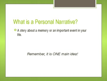 Personal Narrative Characteristics PowerPoint