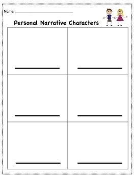 Personal Narrative Characters & Settings Brainstorms