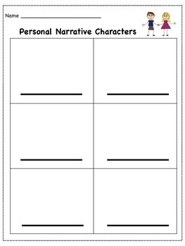 Personal Narrative Characters & Settings Brainstorms