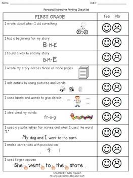 Personal Narrative Checklist for K-2