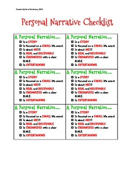 Personal Narrative Checklist***Best Seller!