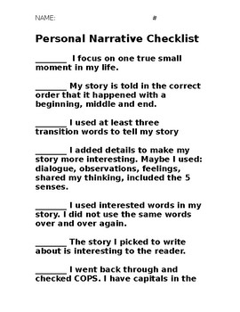 how to make a personal narrative