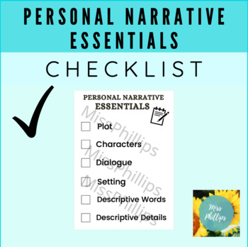 What Do I Need in My Personal Narrative? Checklist