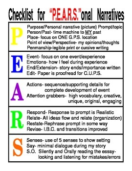Personal Narrative Checklist using PEARS