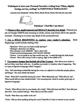 Personal Narrative Common Core Techniques Student Guide handout