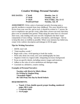 Personal Narrative: Complete 15-page Unit with Models, Tips, Rubrics