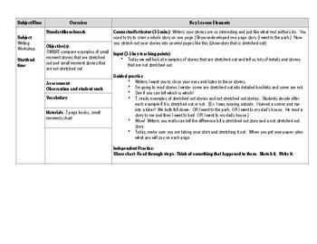 Personal Narrative Daily Lesson Plans