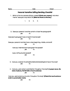 Personal Narrative - Editing Checklists, Rubric, and Learning Targets