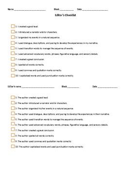 Personal Narrative Editor's Checklist