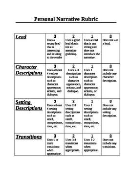 Personal Narrative Elements Pre-Test