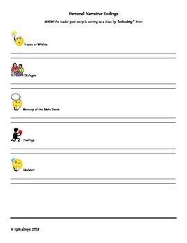 Personal Narrative Endings- Brainstorming and Bookmark