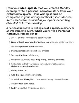 Personal Narrative -From Idea Splash