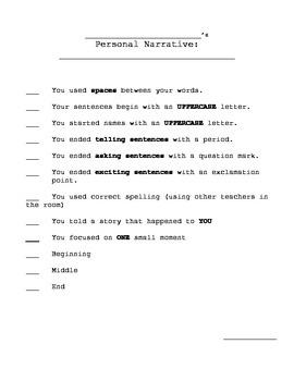 Personal Narrative (Grade 1) Supplement Materials